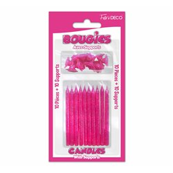 10 BOUGIES SUPPORTS PAILLETEES FUCHSIA