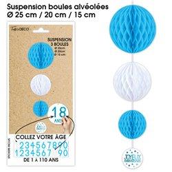 SUSPENSION 3 BOULES TOUS AGE BLEUE