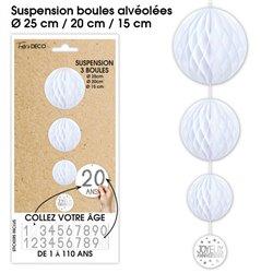 SUSPENSION 3 BOULES TOUS AGE BLANCHE