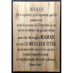 panneau coeur 30x40cm Maman