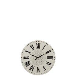 Horloge Chiffres Romains Rond Metal Blanc/Noir